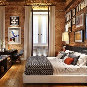 Wonderful Ezposed Brick Walls Bedroom Design Ideas 12