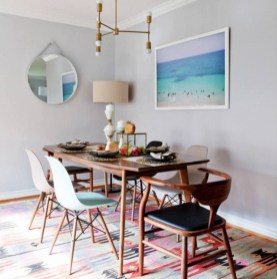 Modern Mid Century Dining Room Table Decor Ideas 47