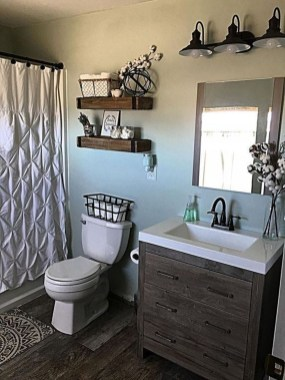 Elegant Farmhouse Bathroom Wall Color Ideas 43