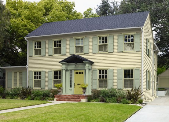Flawless Exterior House Paint Ideas With Yellow Colors 36