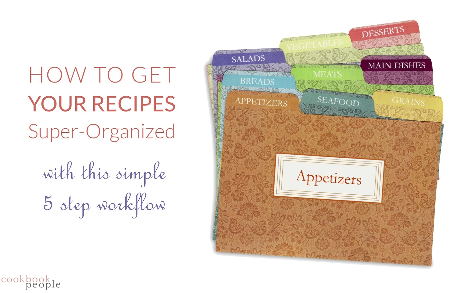 Cookbook people 4x6 tabbed recipe box card dividers with title: How to Get Your Recipes Super-Organized with this simple 5 step workflow