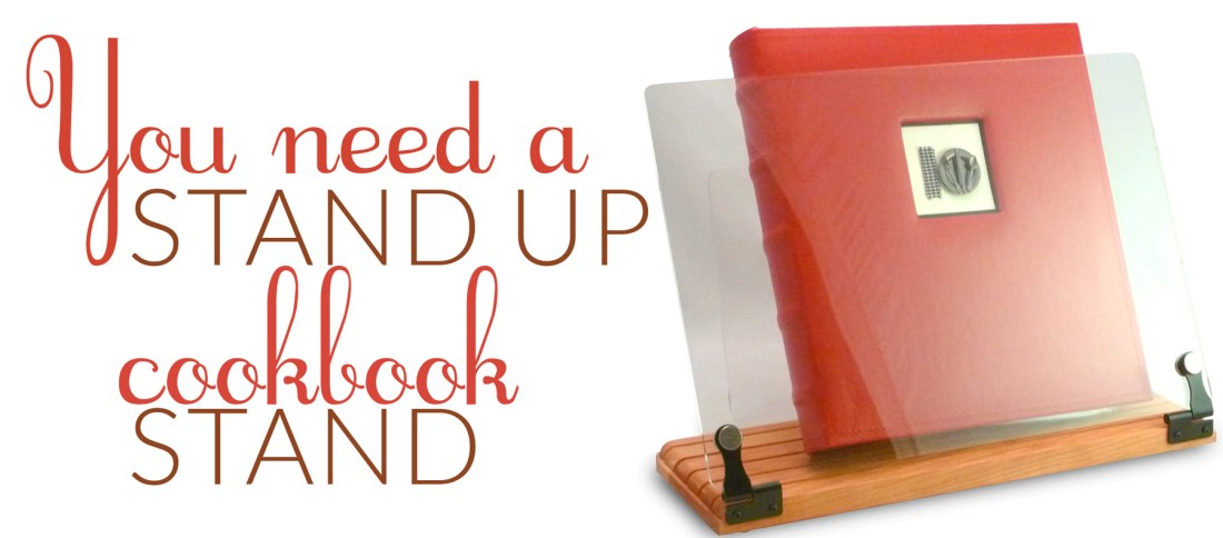 Wooden cookbook holder stand with text: You need a stand up cookbook stand