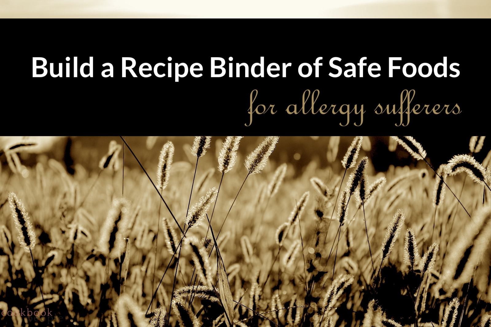 Photo of wheat field overlaid with text: Build a binder of safe foods for allergy sufferers