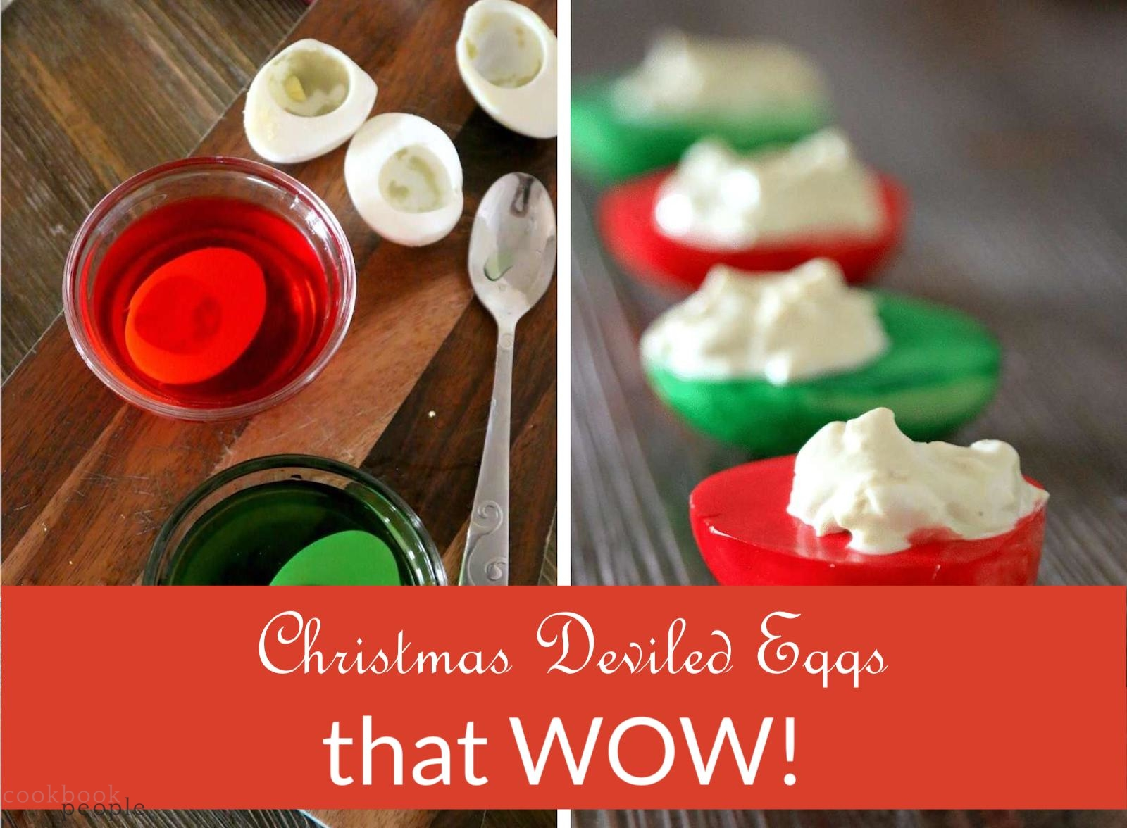 Preparing Xmas Deviled Eggs