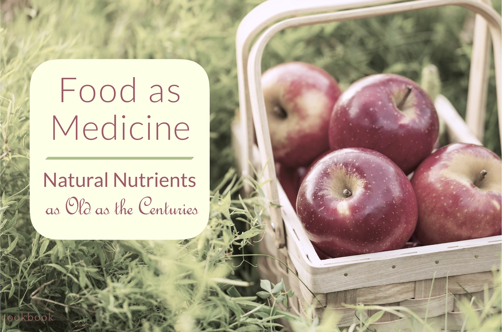 Basket of apples in field with text: Food As Medicine: Natural Nutrients as Old as the Centuries
