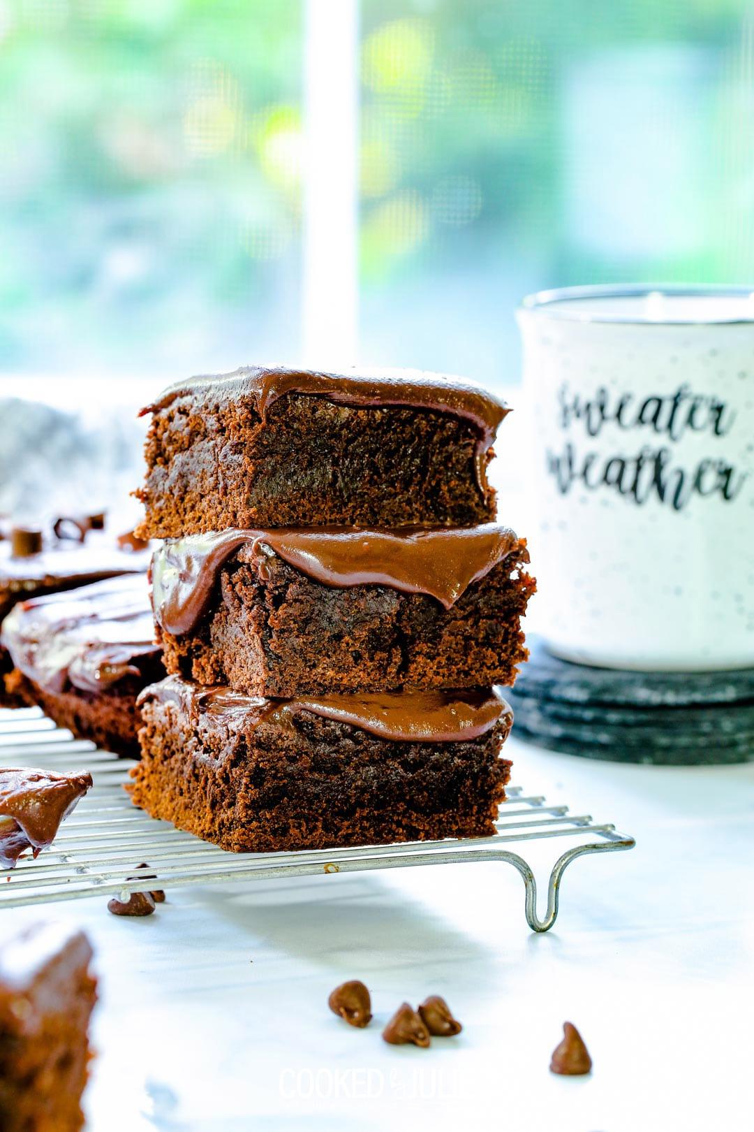 three chocolate fudge brownies stacked