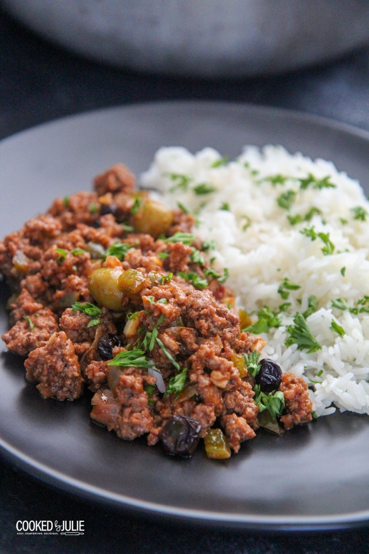 picadillo Cubano with white rice on a plate