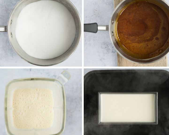 collage with four photos showing how to make flan.