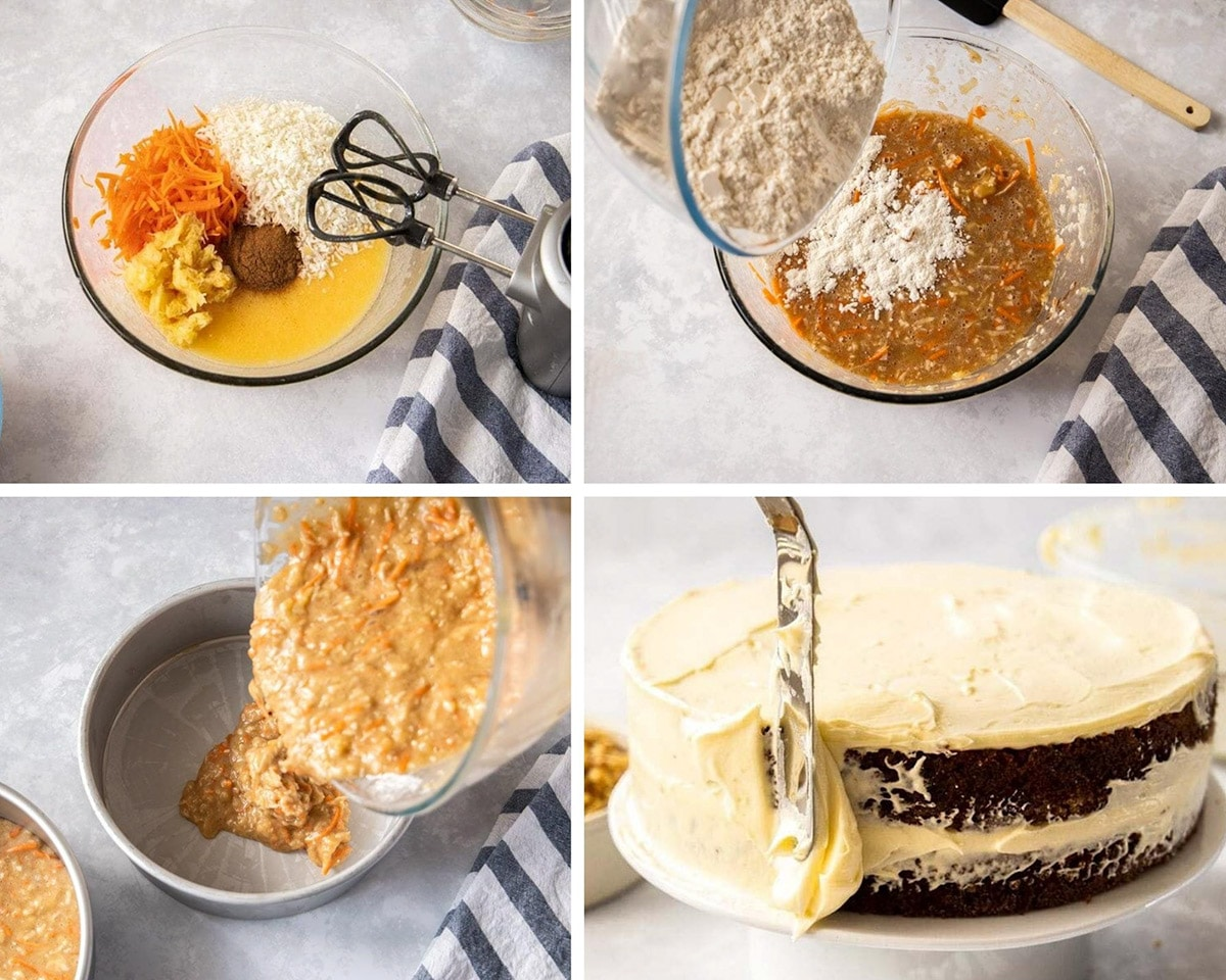photo collage showing 4 photos. Cake batter in bowls being mixed and a carrot cake being frosted.