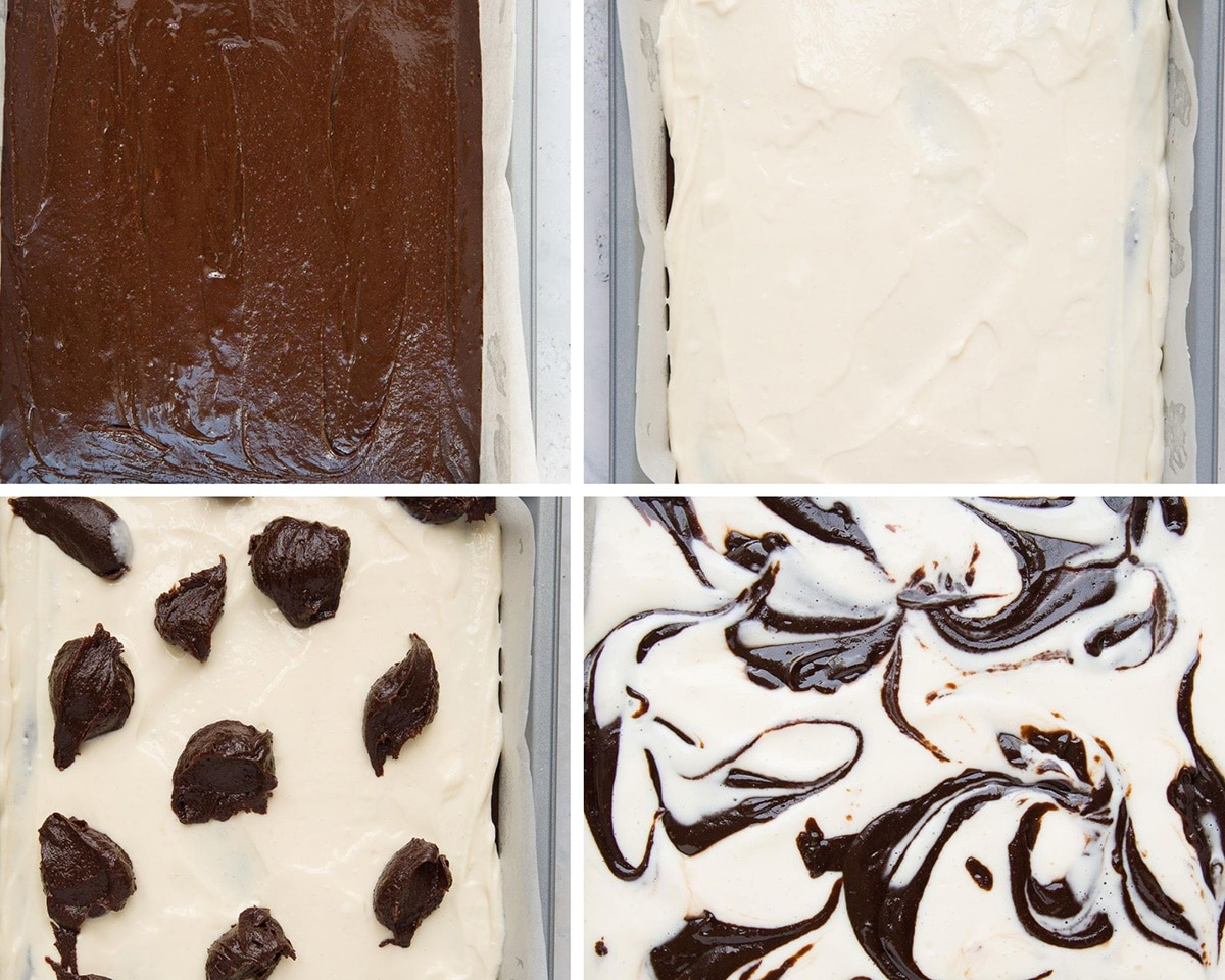 a photo collage with four photos showing the recipe steps. One pan fille dwith brownie batter, another pan filled with cheesecake filling, and two photos showing the brownie and cheesecake swirls.