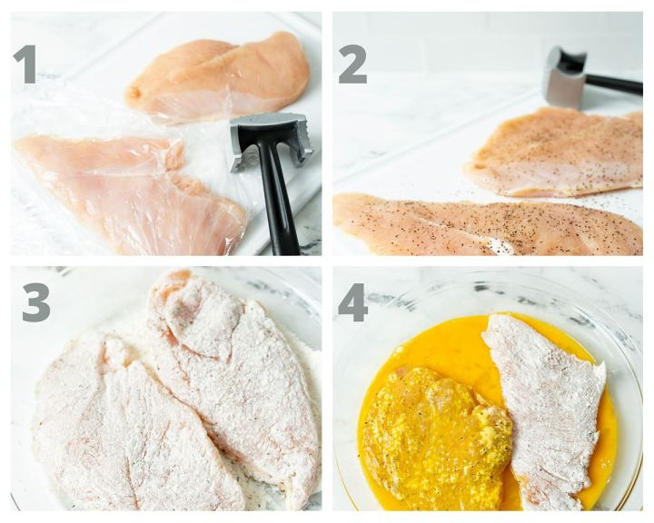 a collage with four photos showing chicken breasts and a meat mallet. Chicken breasts dipped in egg wash and coated in flour.