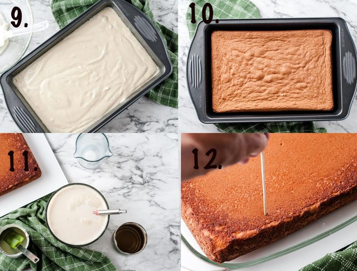 cake batter in a baking pan and a baked cake in a collage of 4 photos
