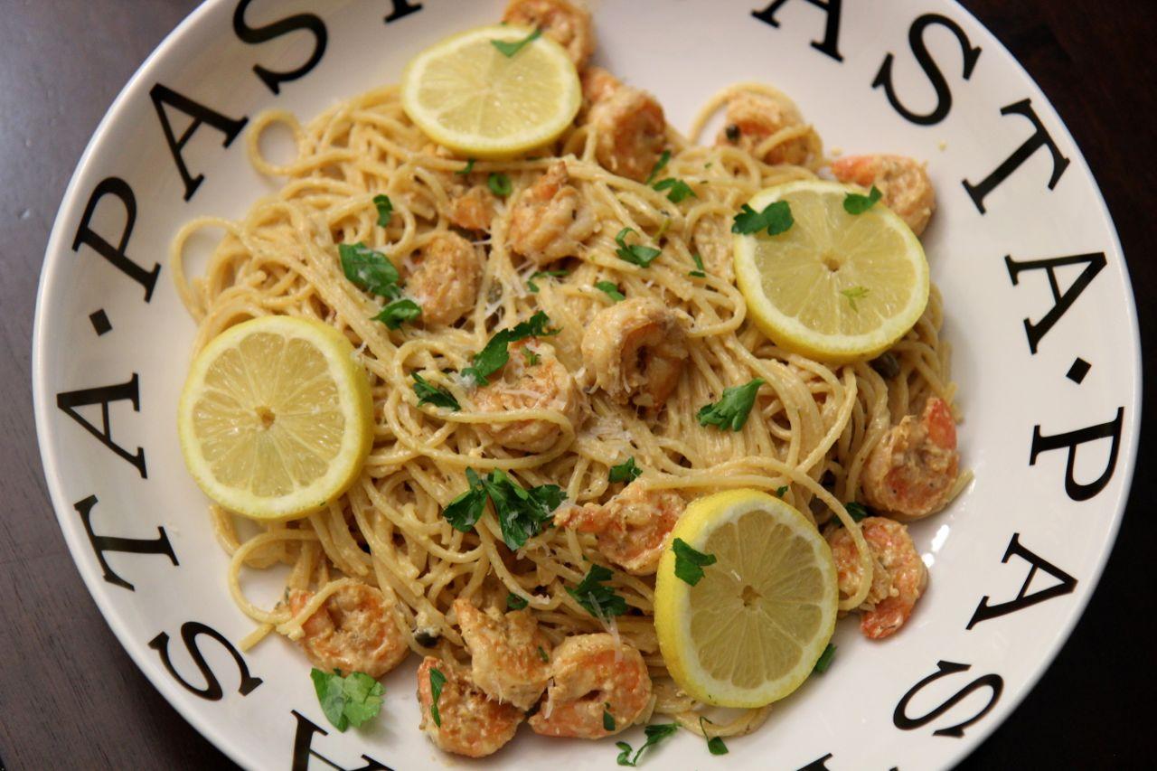 Creamy Lemon Shrimp Pasta | Cooked by Julie