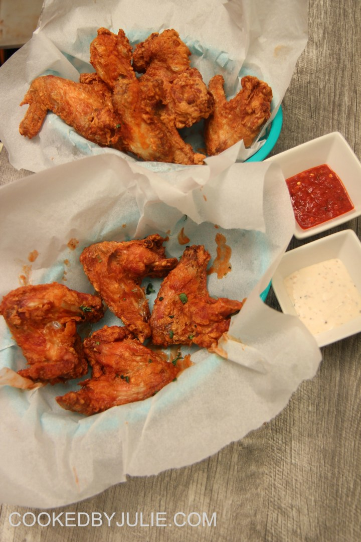 Hot sauce and blu cheese give you some variety with these wings