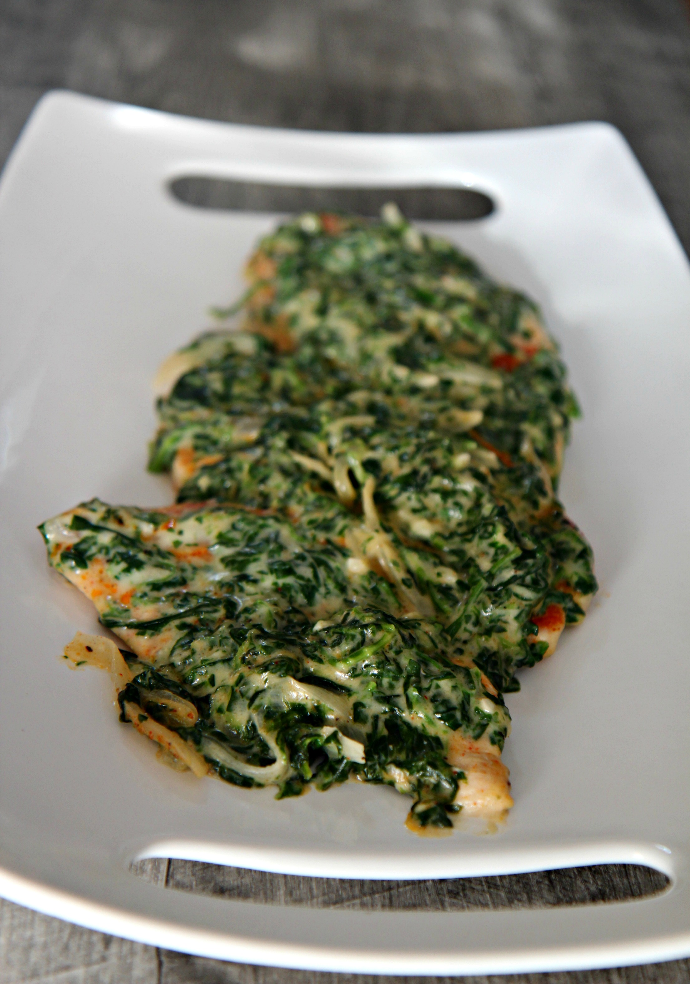 Creamy Spinach Chicken doesn't need a side, it's good on its own.