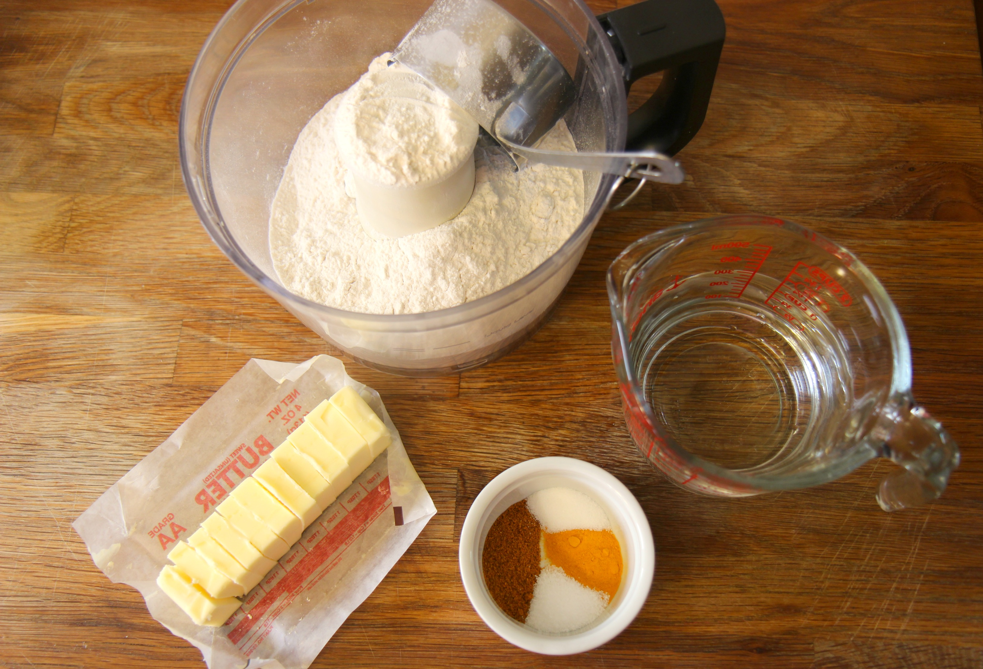 The Basic ingredients to make a flavorful dough.