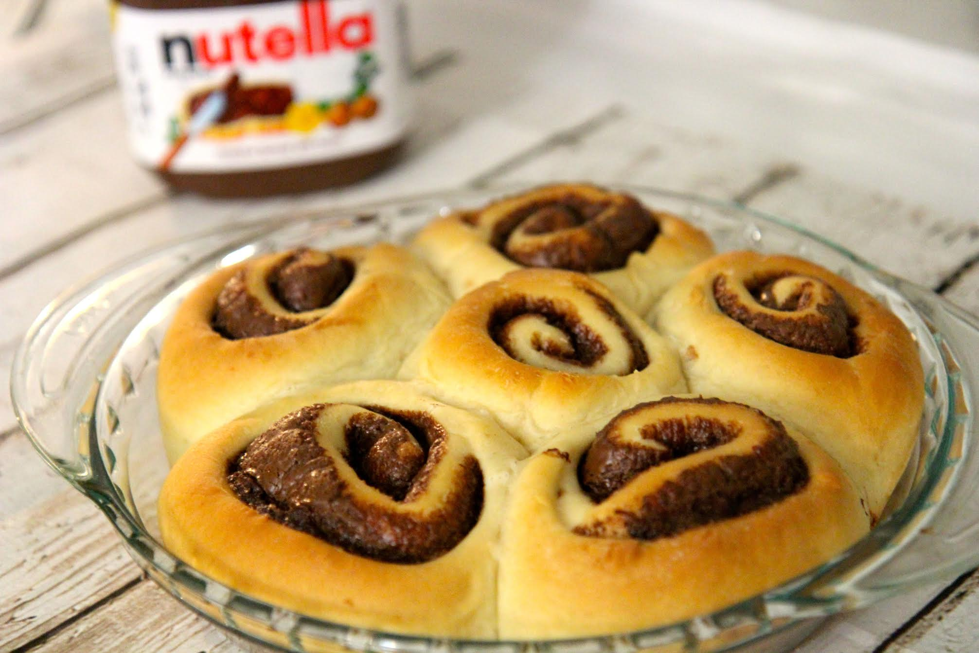 Soft and gooey homemade cinnamon rolls filled with Nutella