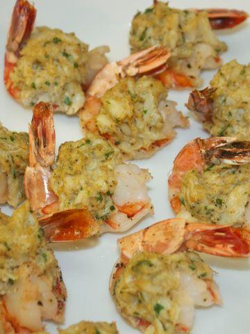 stuffed shrimp on a white platter