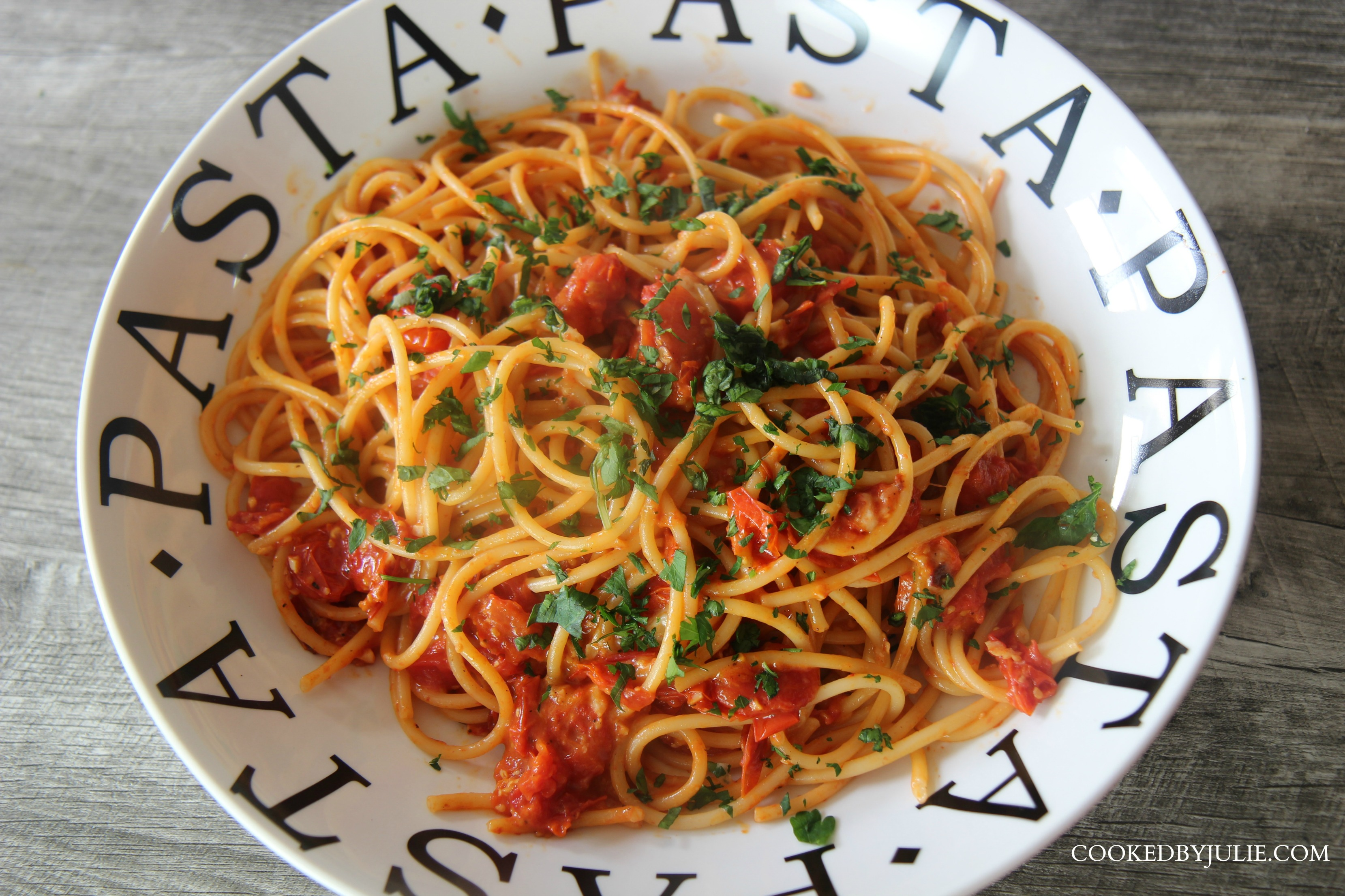 Roasted Tomato Bucatini | Cooked by Julie