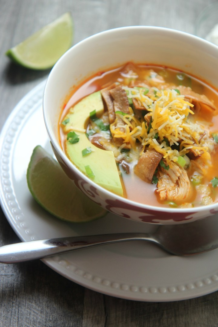 Spicy chicken tortilla soup in a white and red bowl with a spoon
