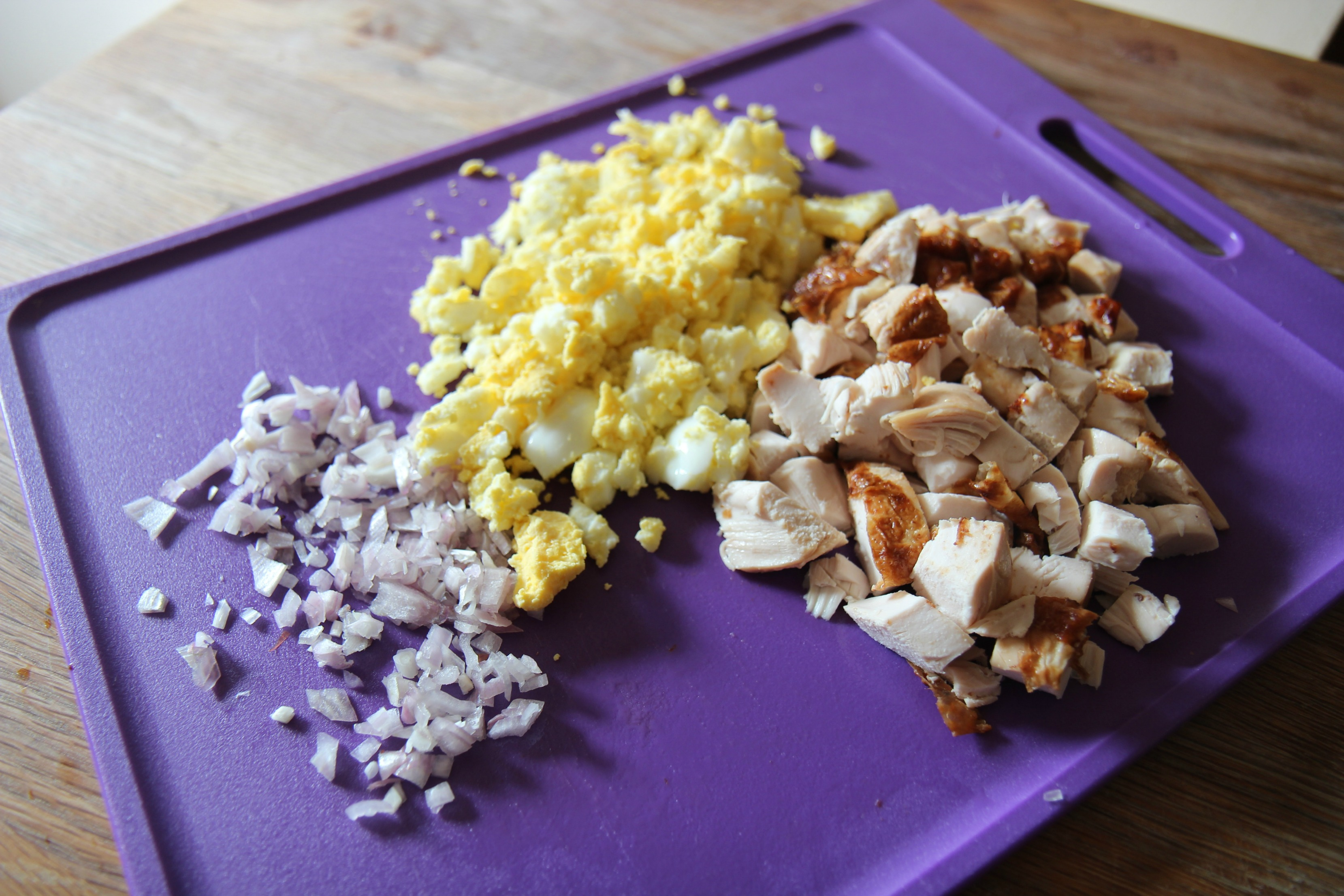 Onions, Eggs, and Chicken for the salad