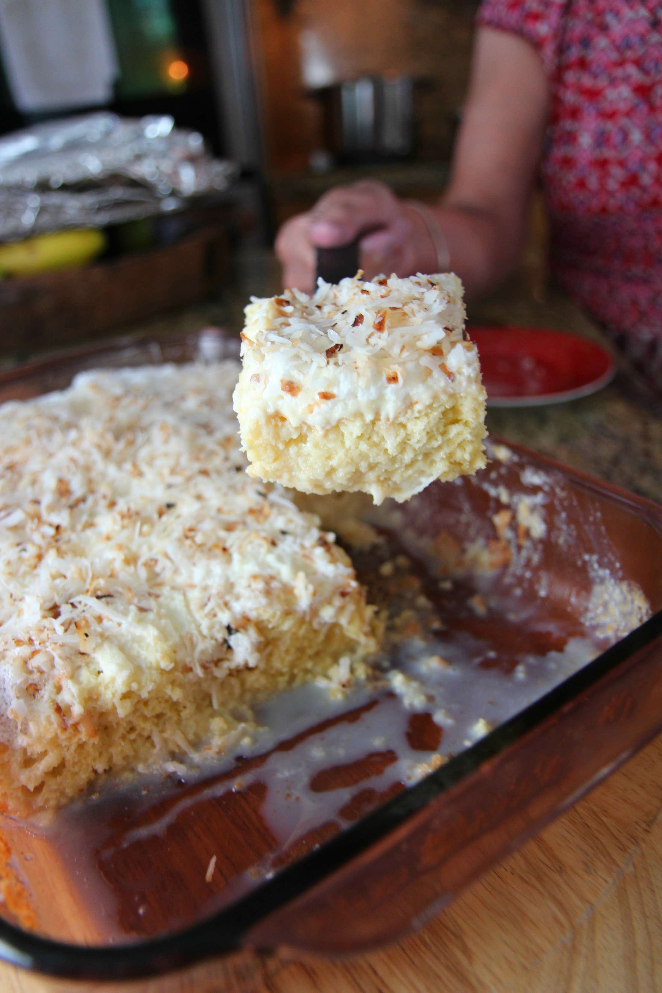 The perfect slice of coconut tres leches cake.