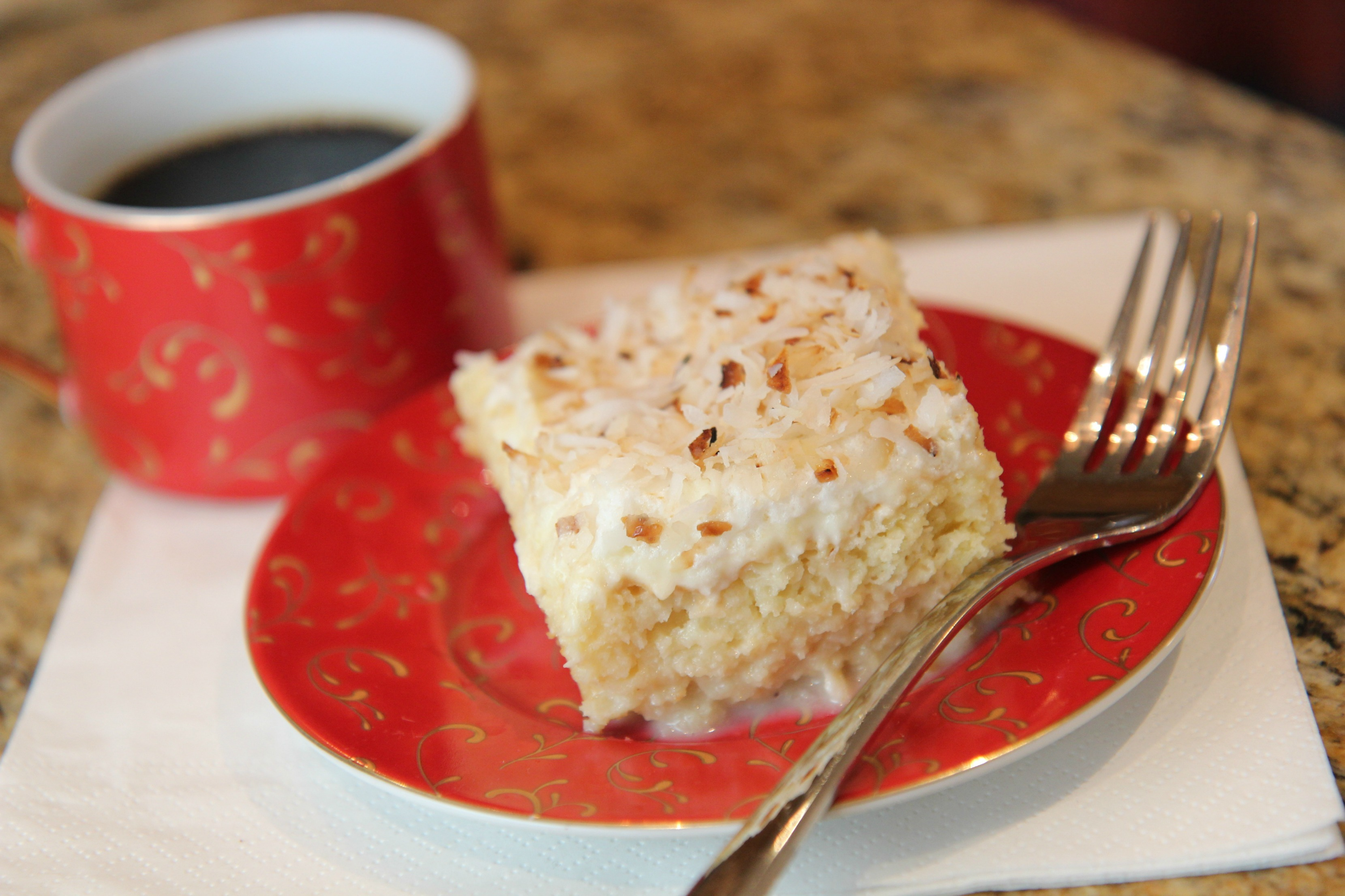 Serve this delicious coconut tres leches cake with some coffee and enjoy.