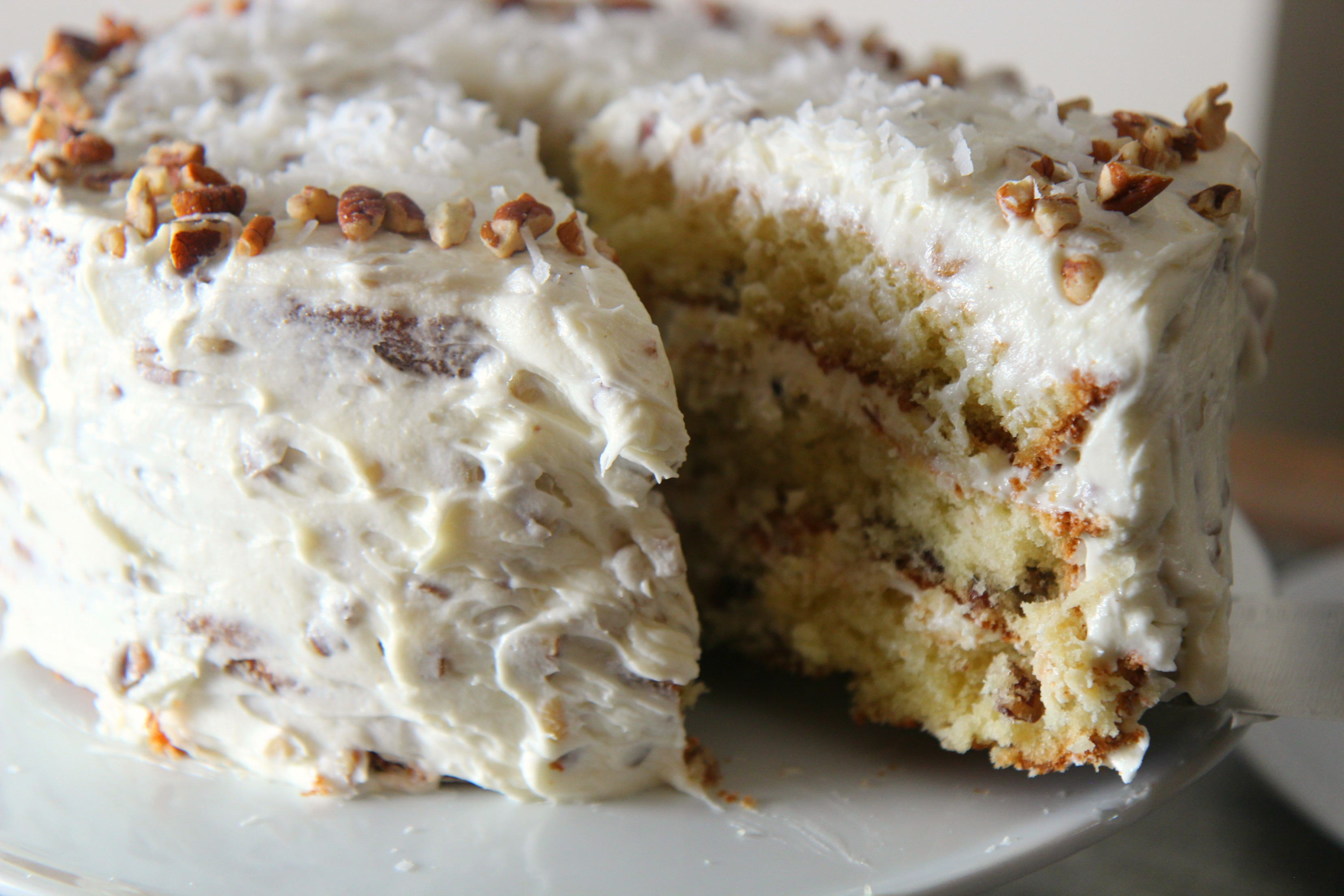 Layers of moist cake and sweet frosting.