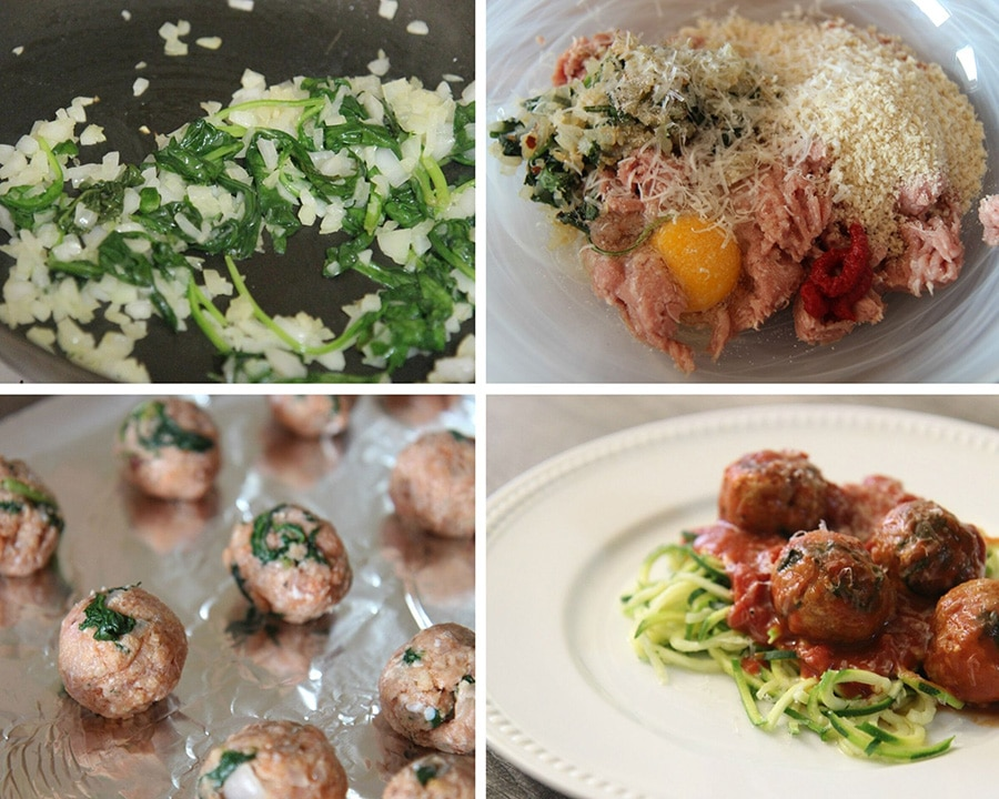 a collage with four photos. Spinach and onions in a skillet, meatball ingredients in a bowl, rolled meatballs on a baking sheet, and meatballs over zoodles with sauce.