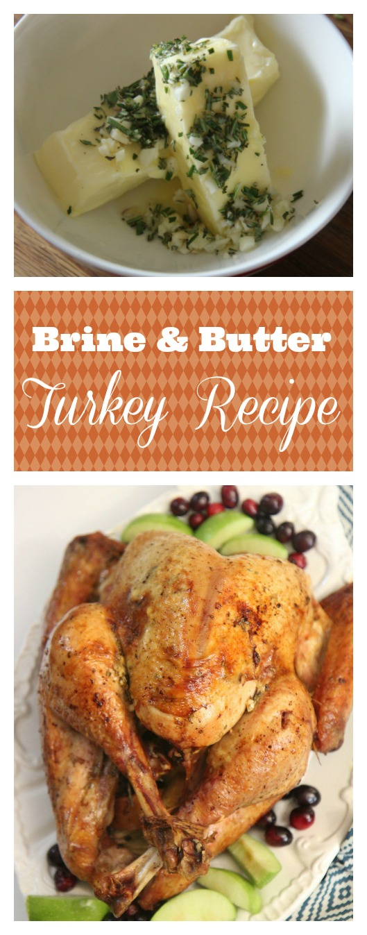 Brince & Butter Roasted Turkey recipe for Thanksgiving dinner.
