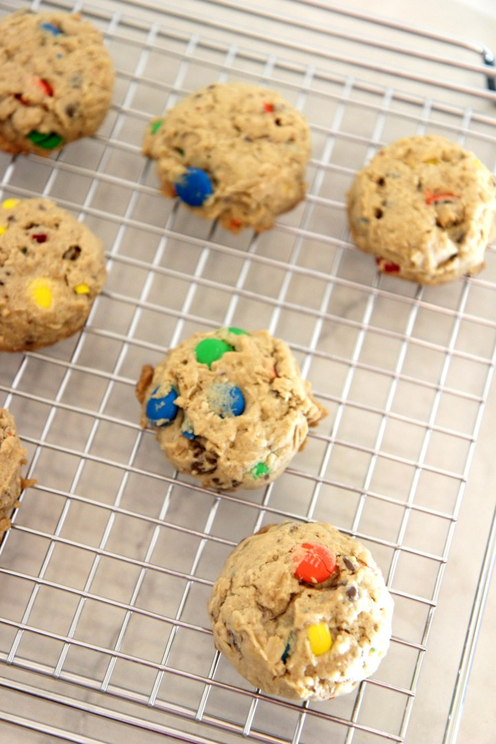 These soft baked monster cookies are the perfect cookie, packed with bits of chocolate candies and baked to perfection