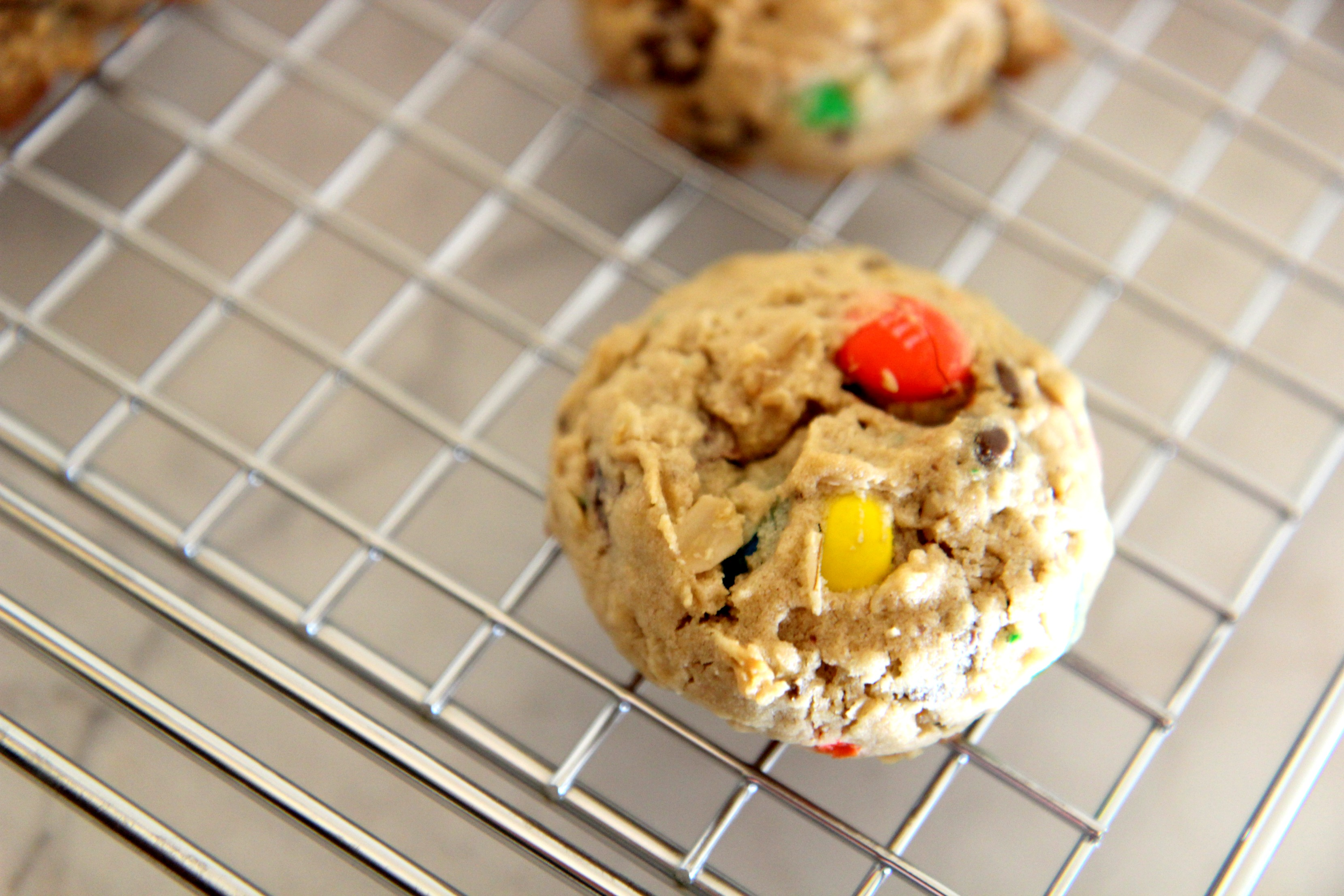 Dip these soft baked monster cookies in some milk for a perfect cookie experience