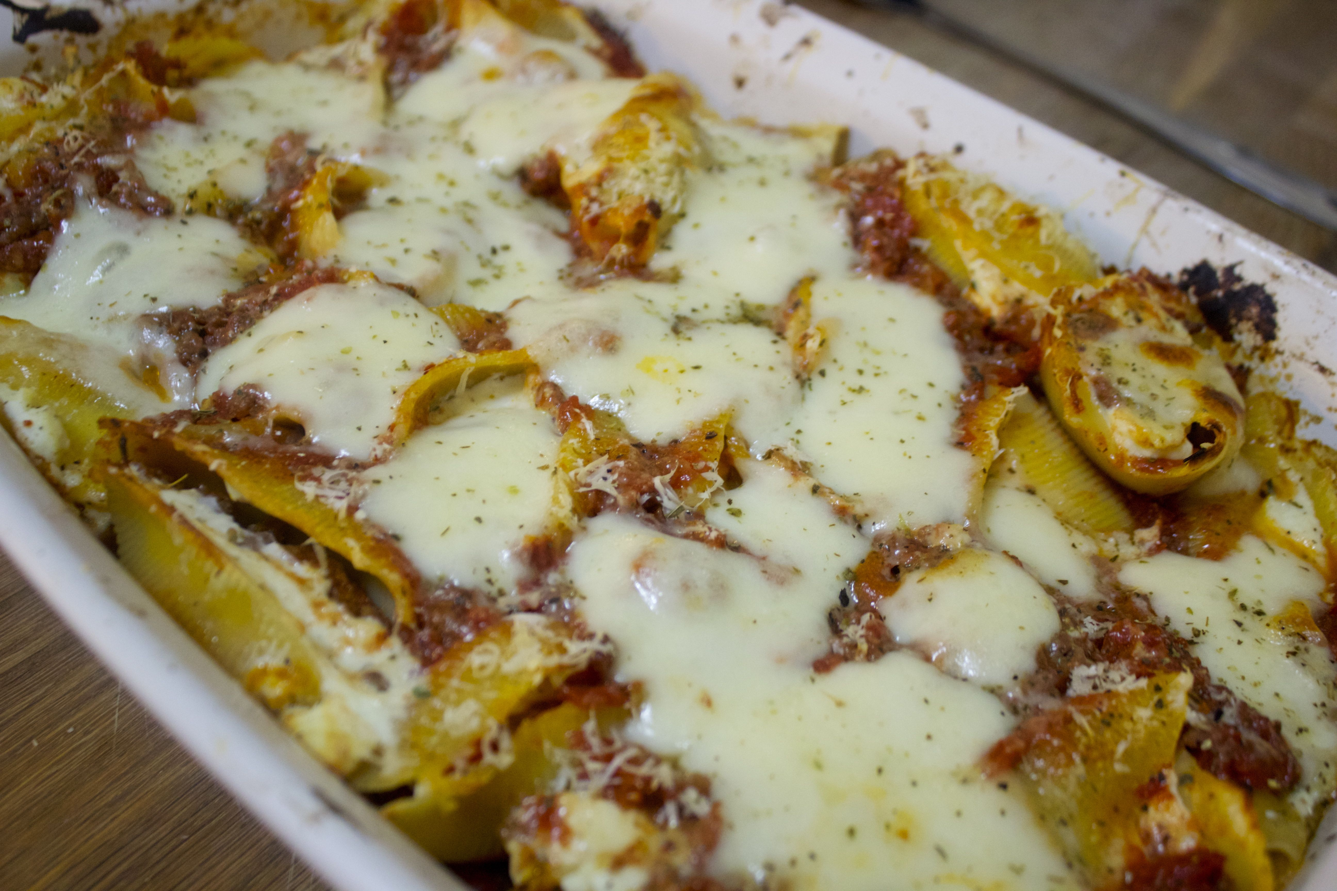 Cheesy stuffed shells with a homemade, slow cooked meat sauce
