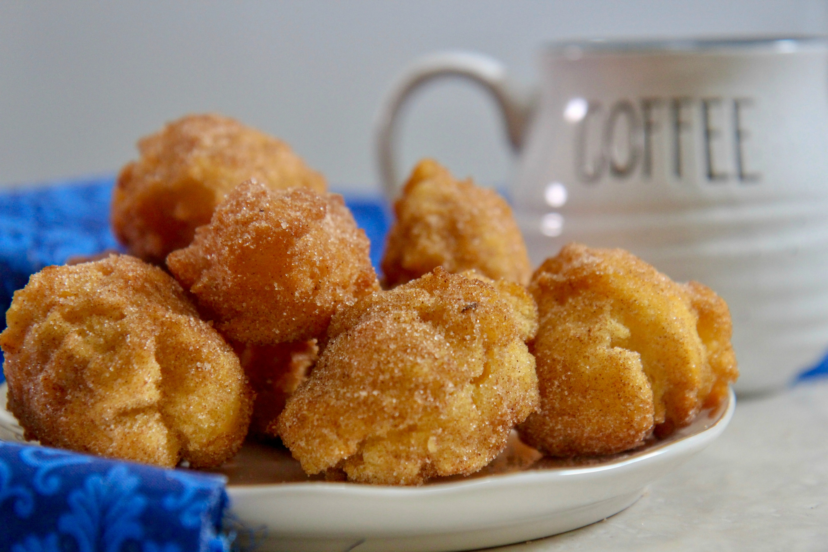 Lightly battered and sugared donut holes
