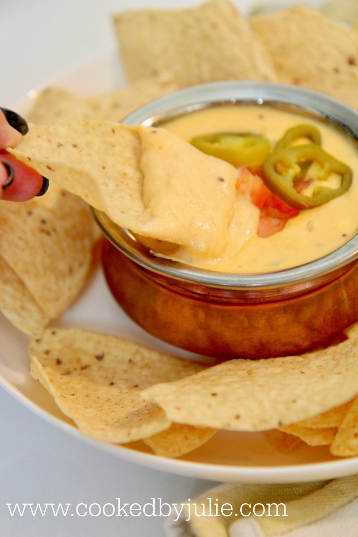 Crispy tortilla dipped in queso made with real cheddar cheese and cream cheese
