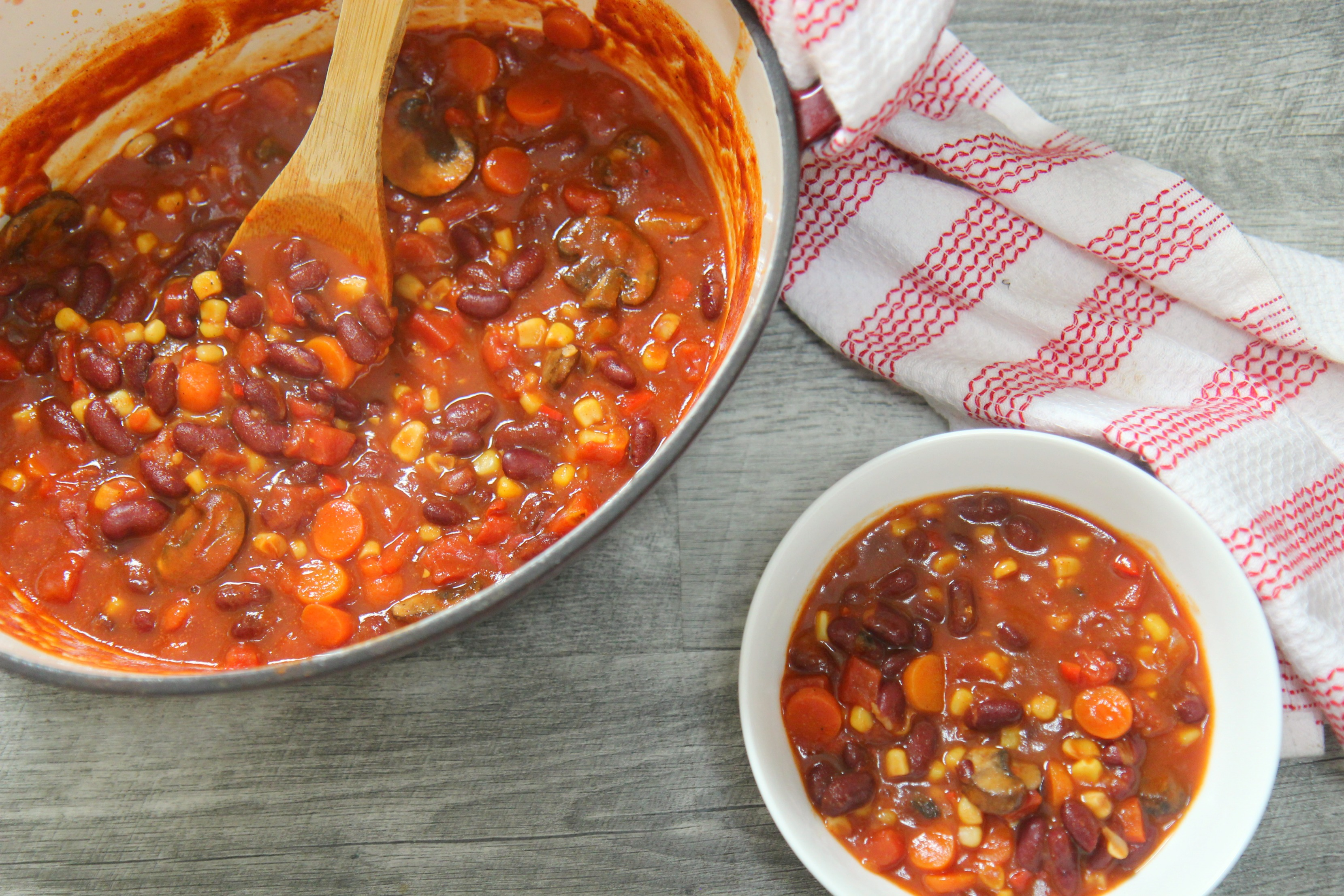This easy vegetarian chili recipe is a perfect cold winter night meal