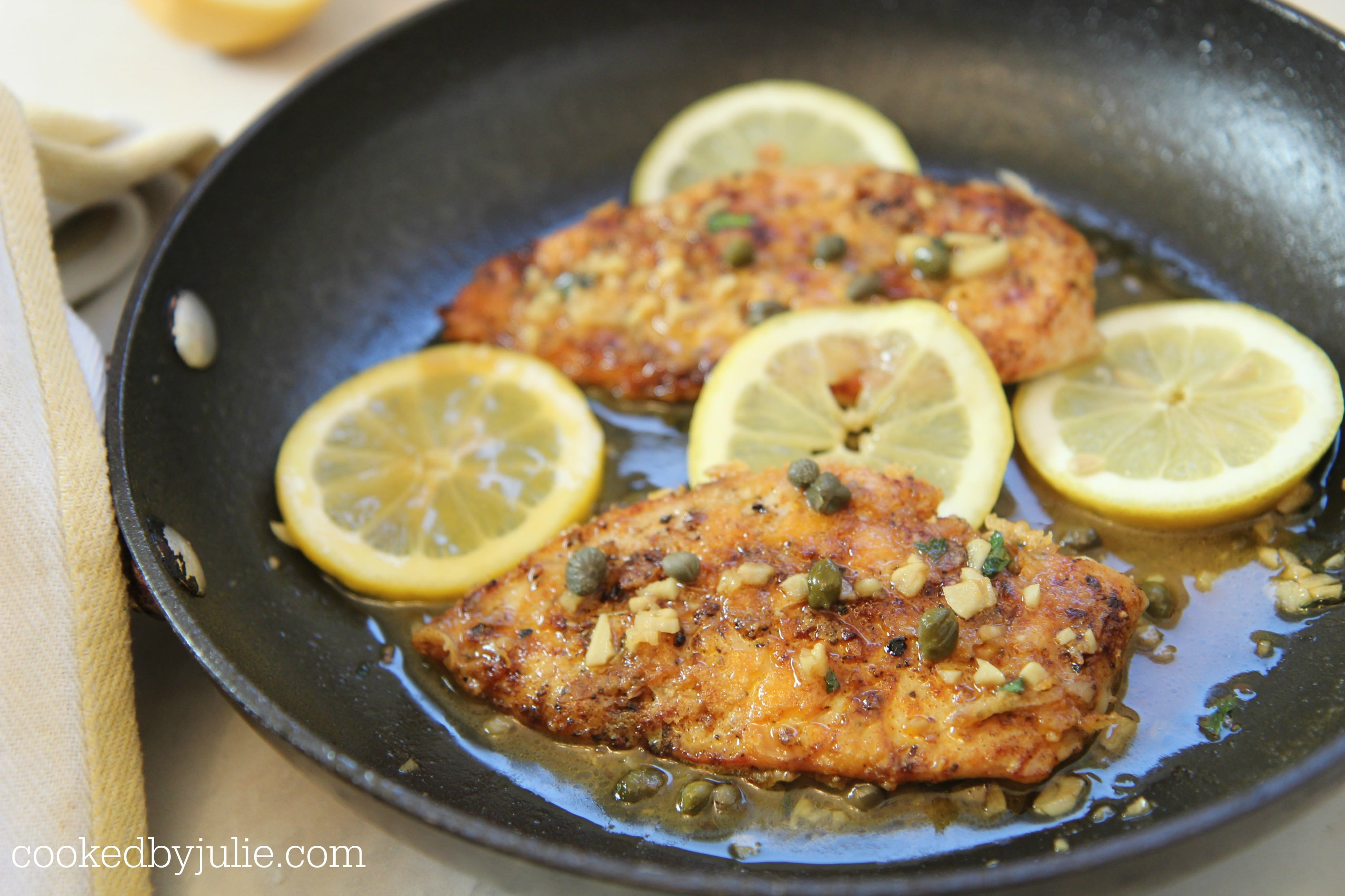 The sauce is simple and low carb getting the flavors from the lemon and capers.
