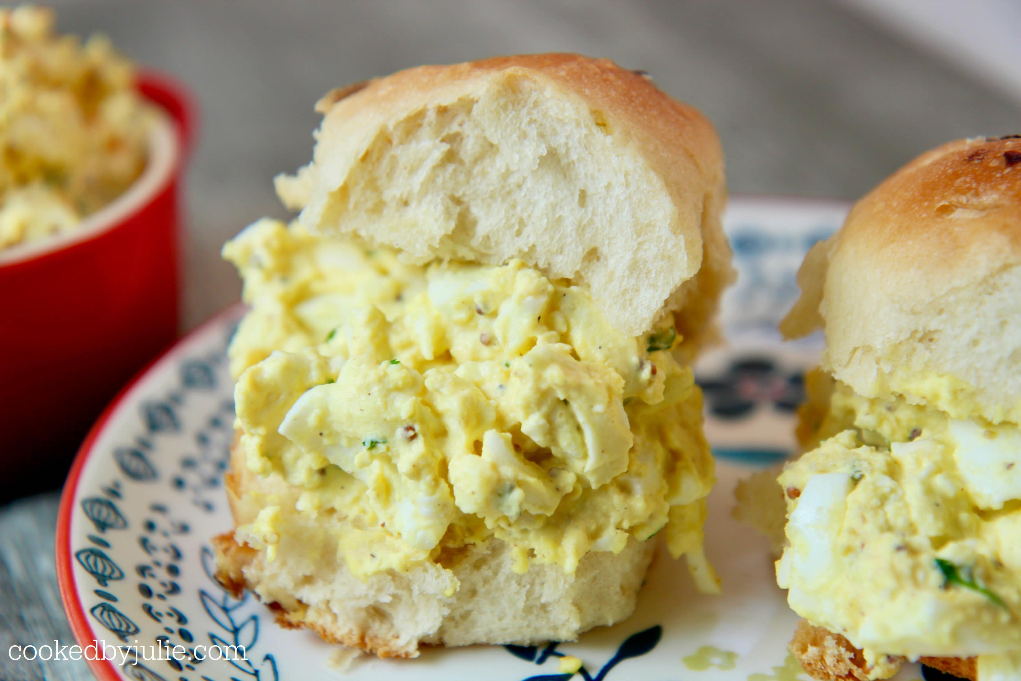 Egg salad sandwiches are a perfect busy weeknight meal or picnic lunch.