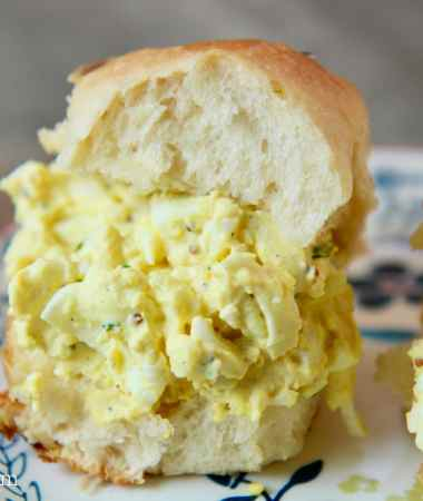 egg salad sandwich on a small plate
