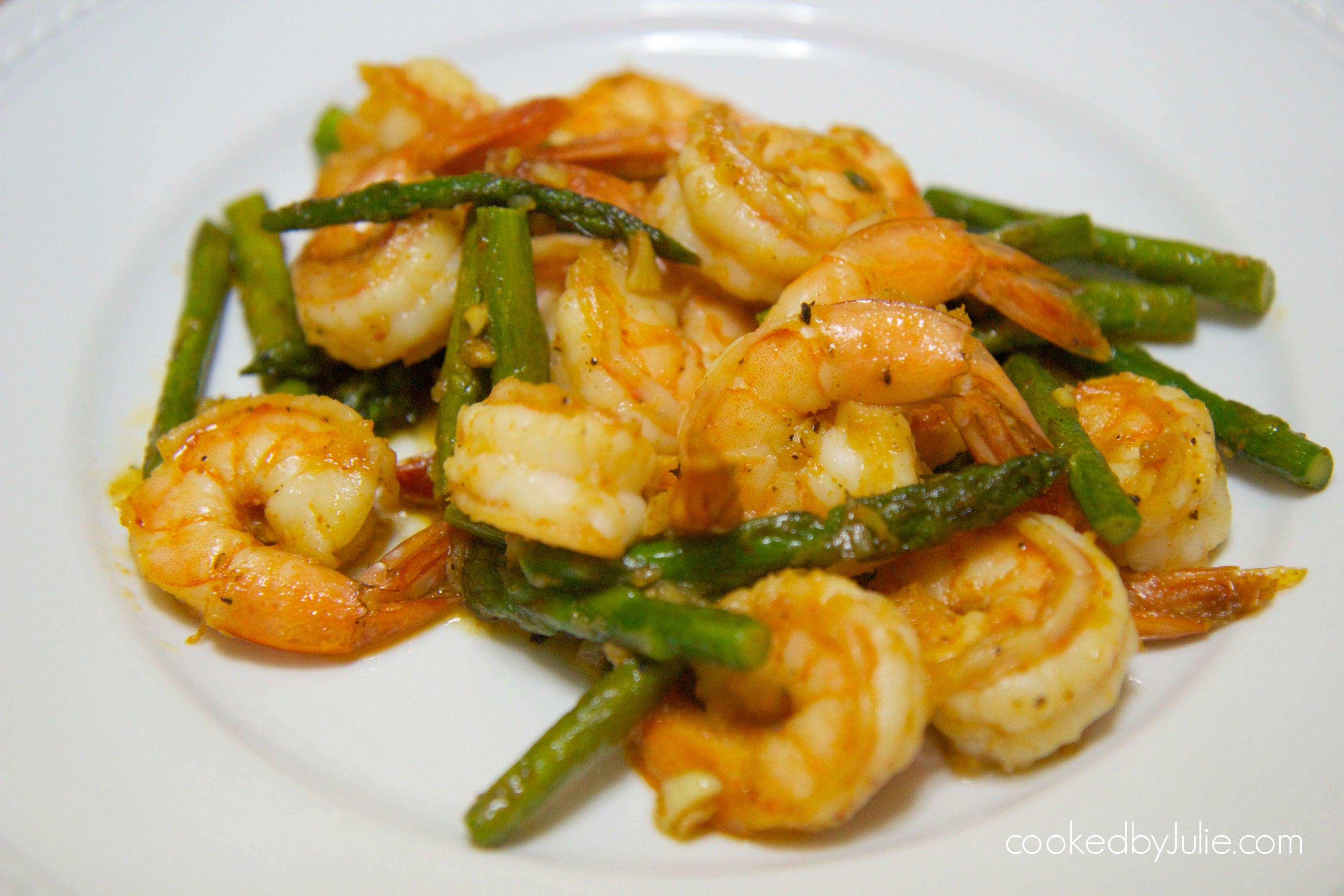 chili garlic shrimp and asparagus