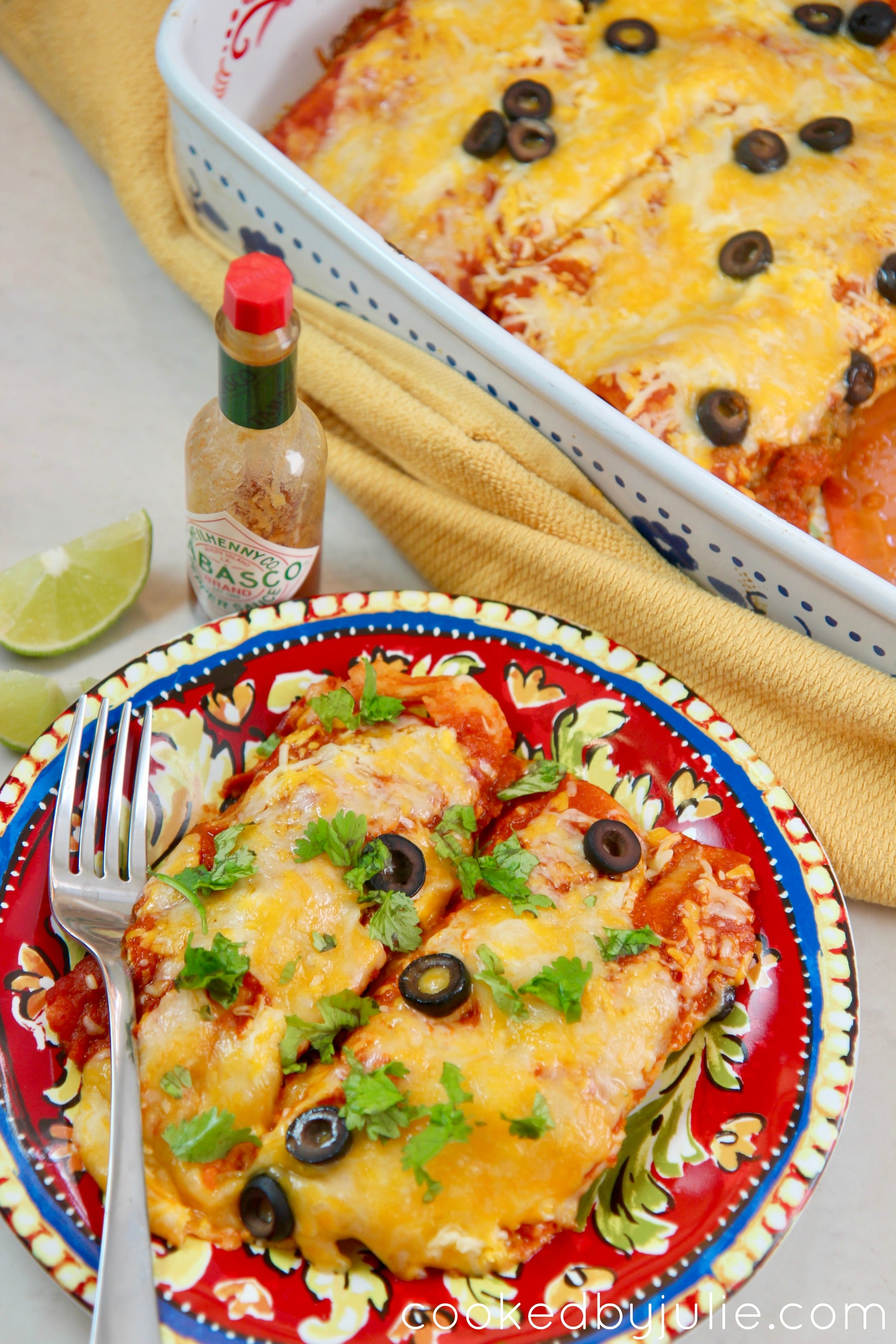 These cheesy beef enchiladas are the perfect party meal. Top with some hot sauce and lime