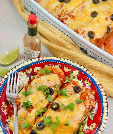 beef enchiladas, hot sauce, and lime.