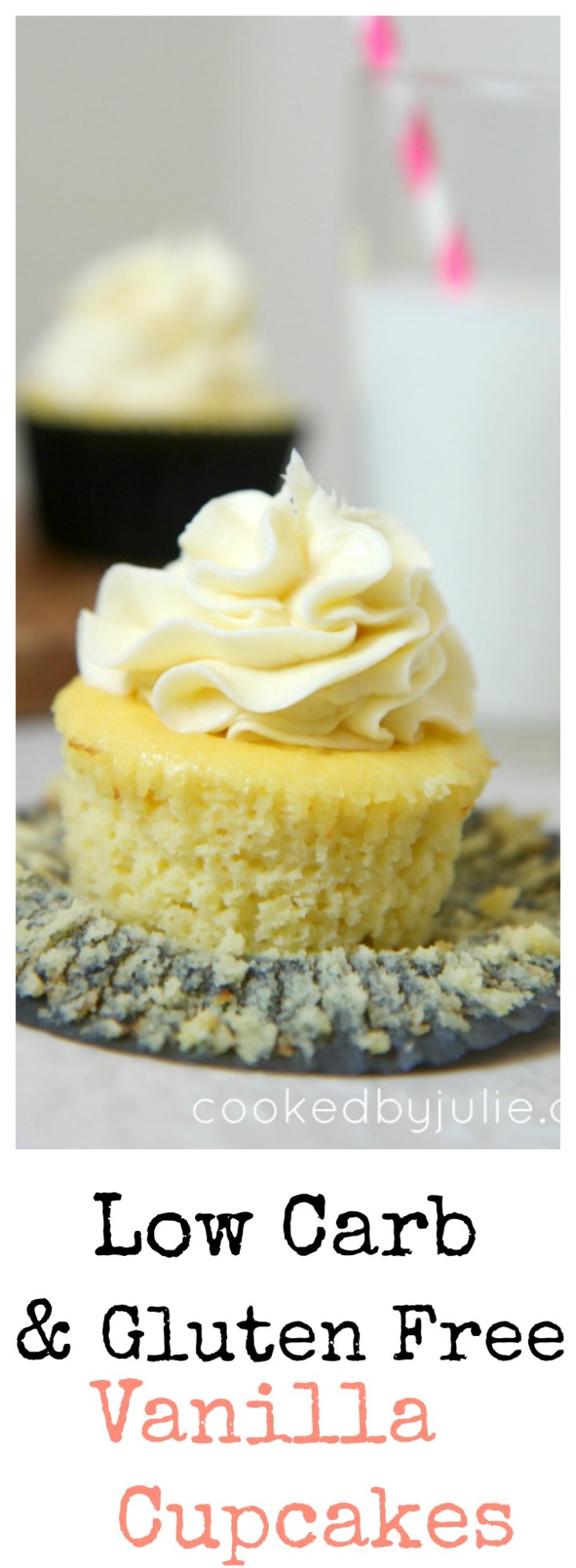 Learn how to make these low carb and gluten free vanilla cupcakes at cookedbyjulie.com