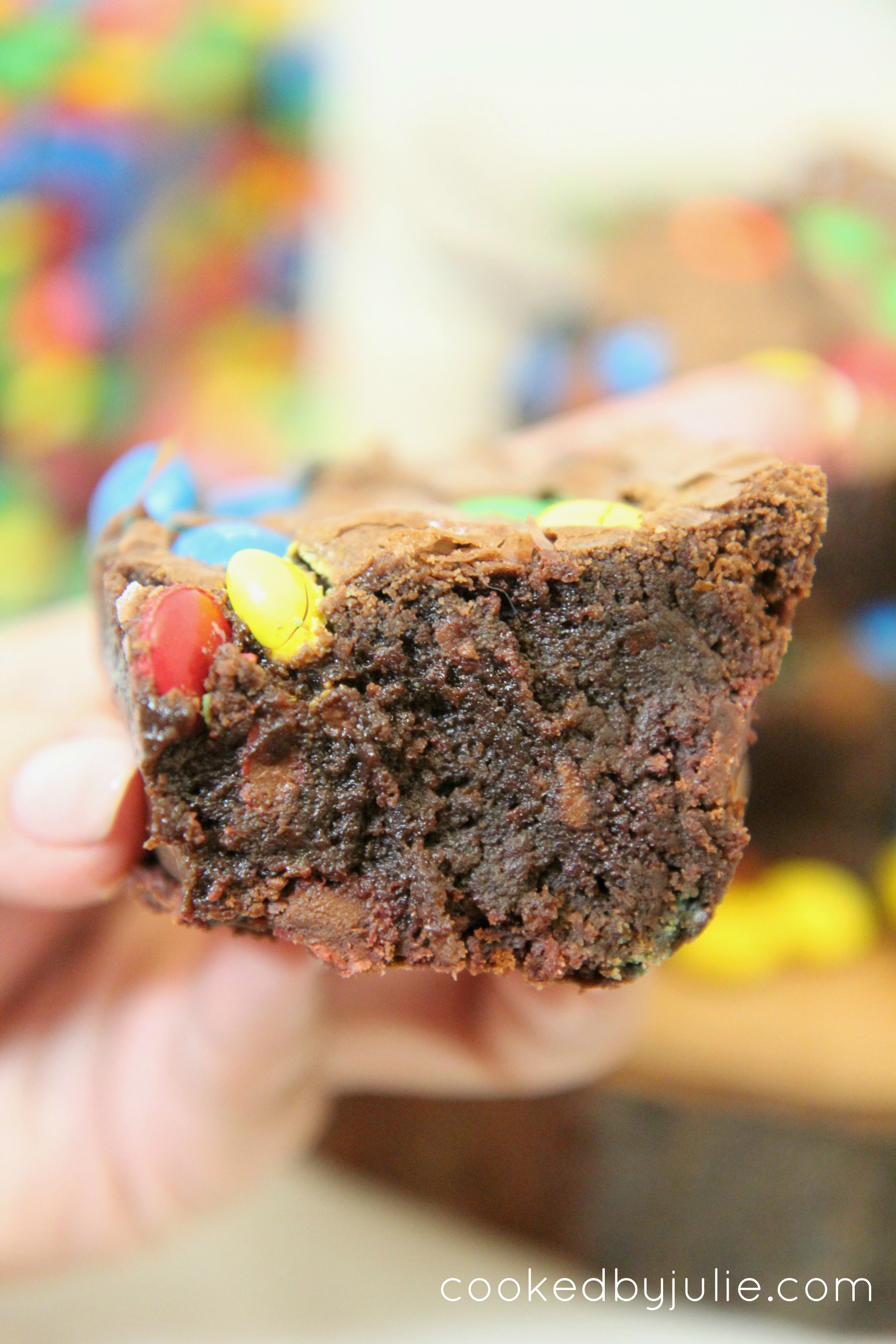 These fudgy chocolate brownies are perfectly baked with M&M pieces in every bite