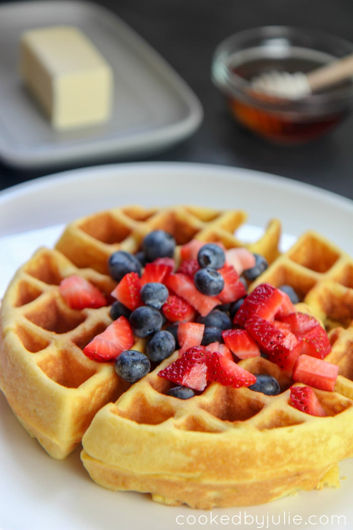 Keto Belgian Waffle with strawberries and blueberries