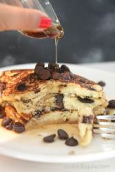 keto and low carb chocolate chip pancakes with sugar free syrup.