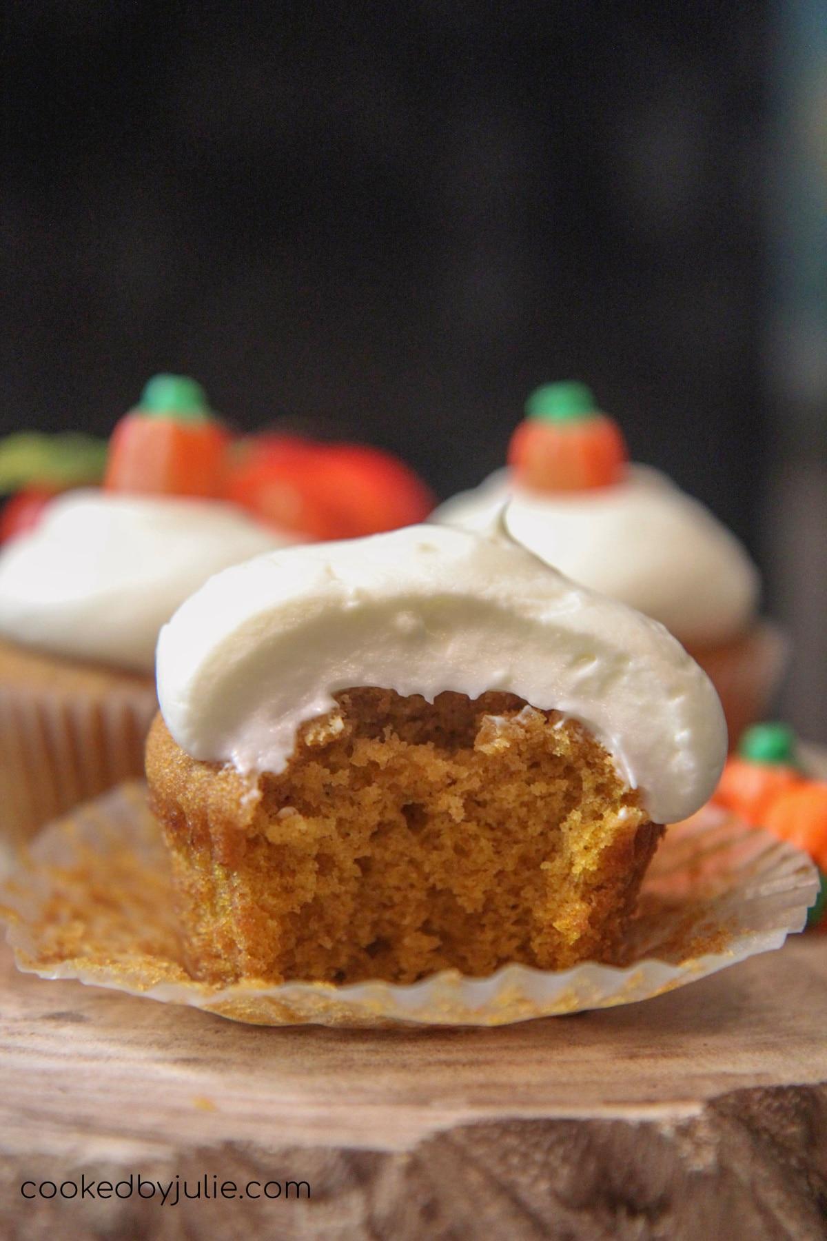 soft and fluffy pumpkin cupcake