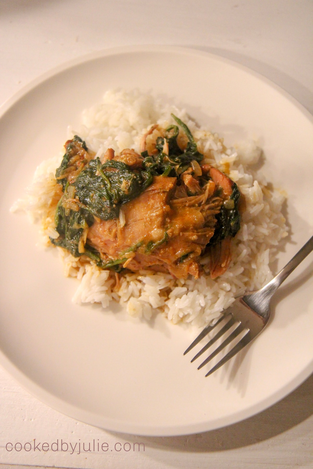 Plate of chicken curry with spinach