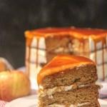 salted caramel apple cake slice