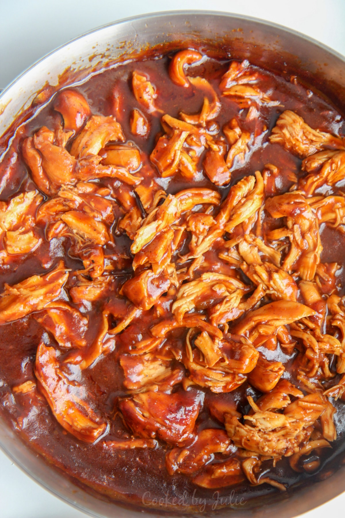 bbq pulled chicken in a skillet